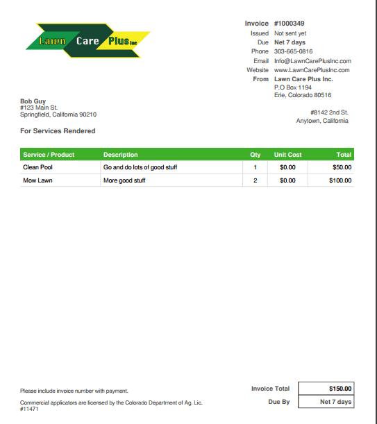 Pay Online Lawn Care Plus Inc - Accept invoice payments online